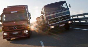 Mercedes-Benz Vergleichstestfahrt mit einem LP 1620 und dem Actros